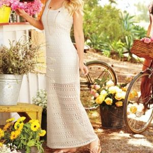 {Lauren Conrad} Crocheted Maxi Dress